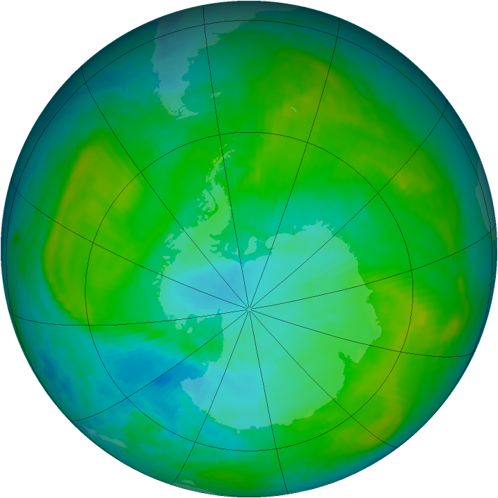 Antarctic ozone map for 20 January 1984