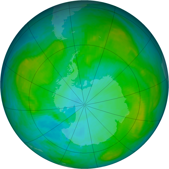Antarctic ozone map for 21 January 1984