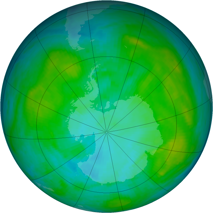 Antarctic ozone map for 23 January 1984