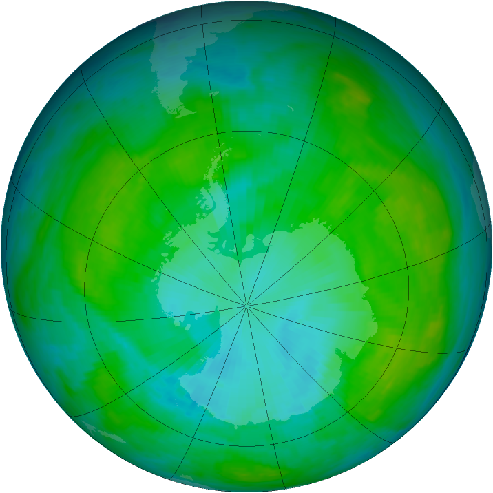 Antarctic ozone map for 24 January 1984