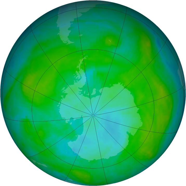 Antarctic ozone map for 25 January 1984