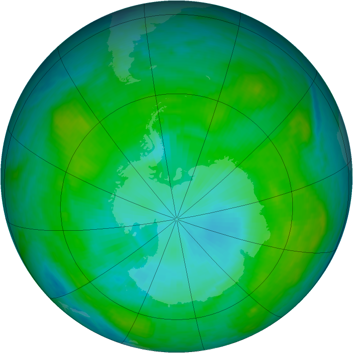 Antarctic ozone map for 26 January 1984