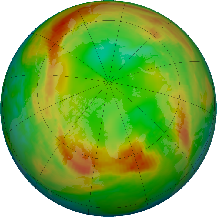 Arctic ozone map for 28 January 1984
