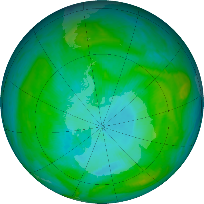 Antarctic ozone map for 30 January 1984