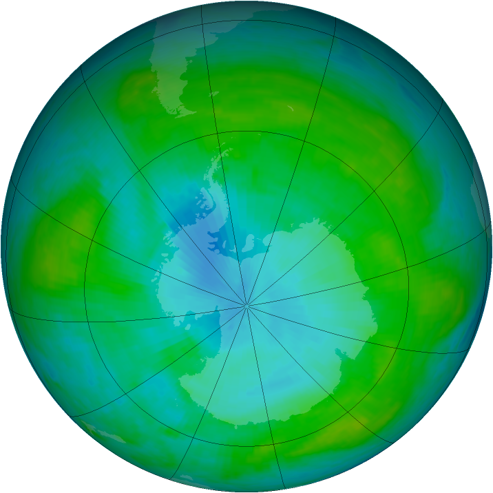 Antarctic ozone map for 03 February 1984