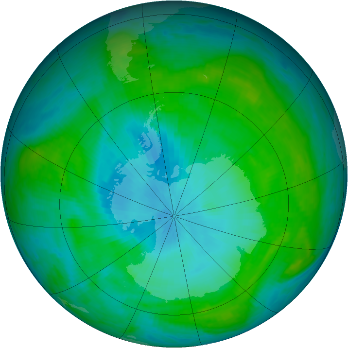Antarctic ozone map for 04 February 1984