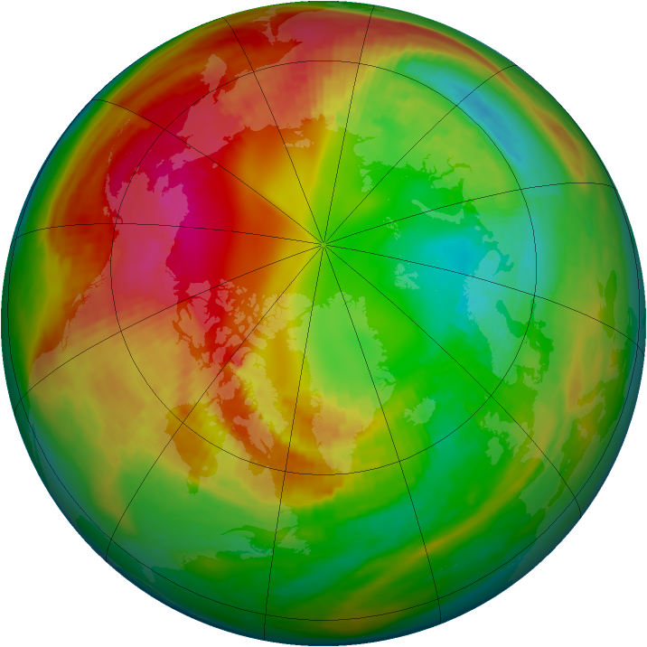 Arctic ozone map for 16 February 1984