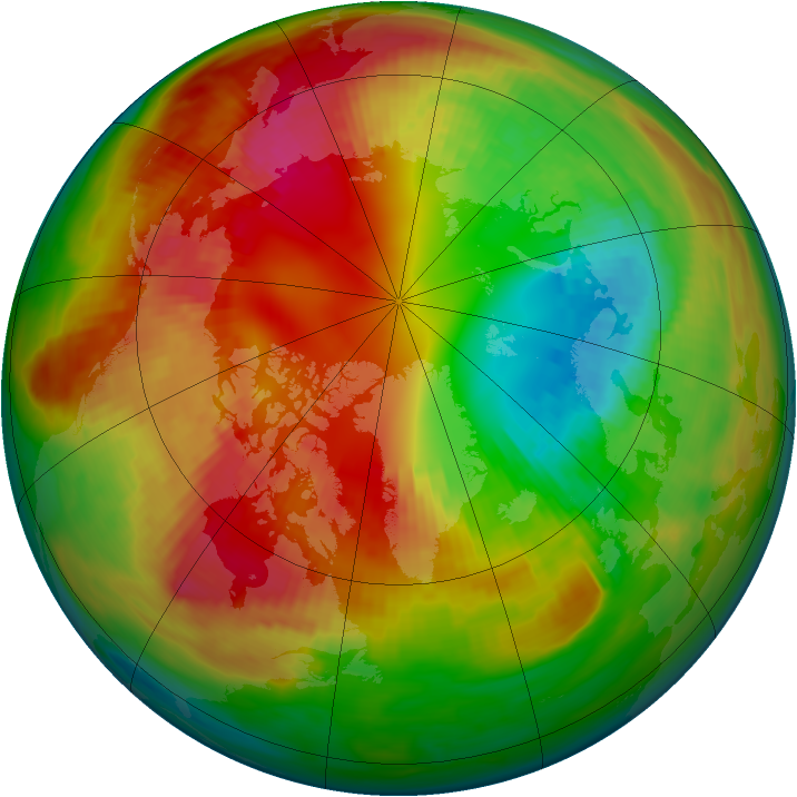 Arctic ozone map for 20 February 1984