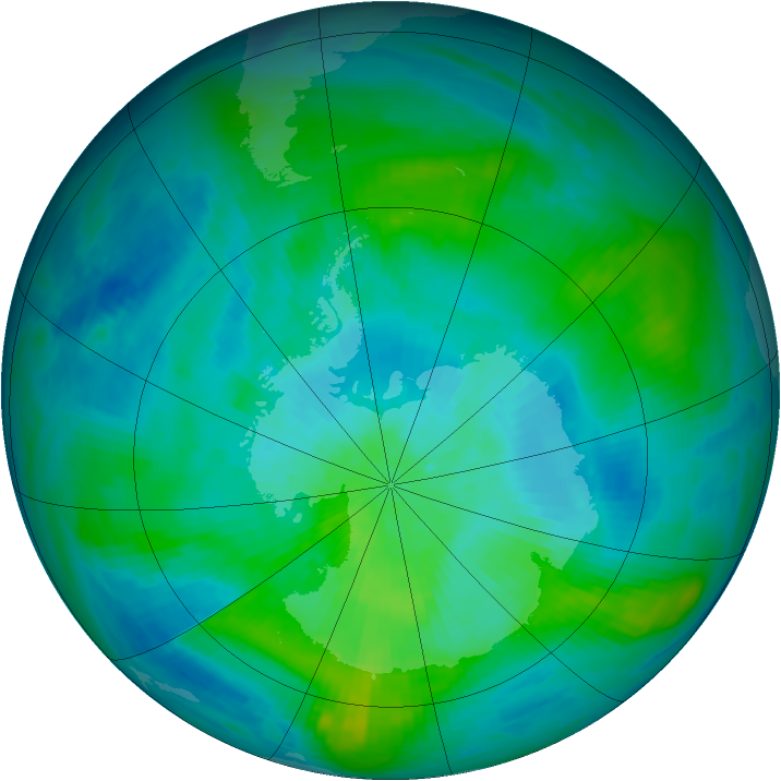 Antarctic ozone map for 27 February 1984