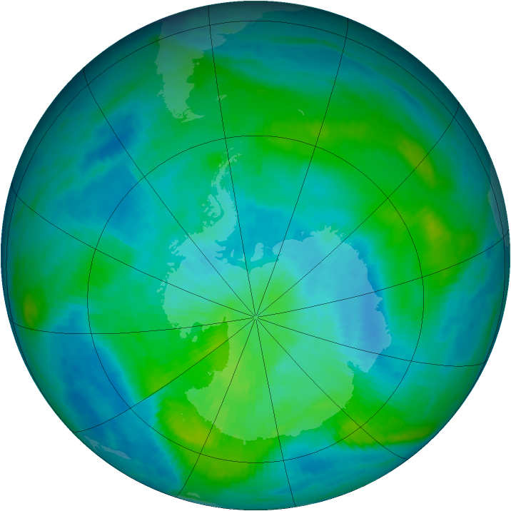 Antarctic ozone map for 28 February 1984