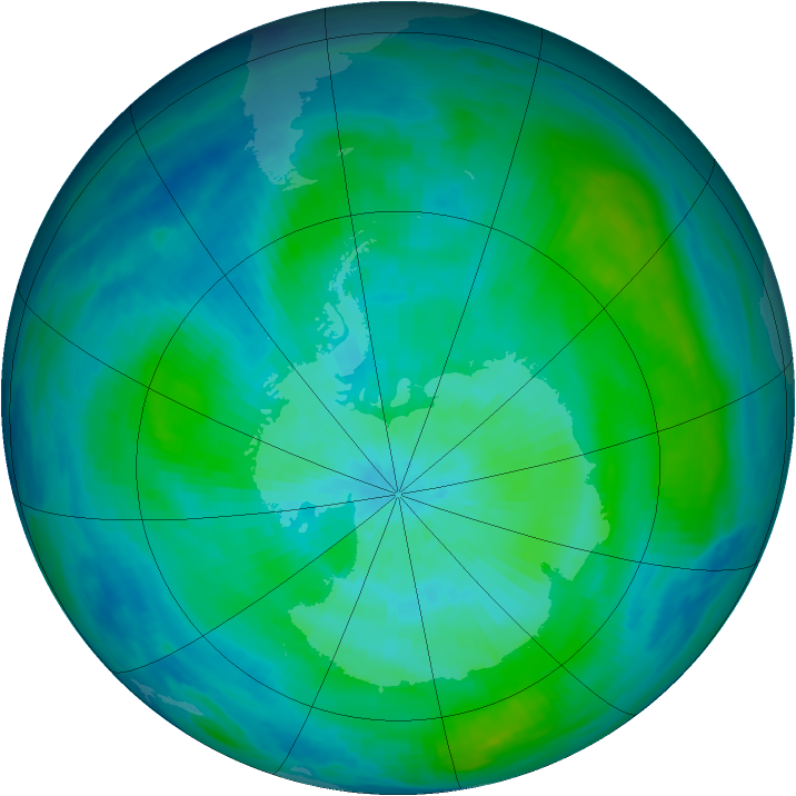 Antarctic ozone map for 04 March 1984