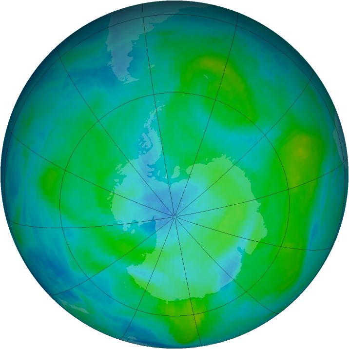 Antarctic ozone map for 06 March 1984