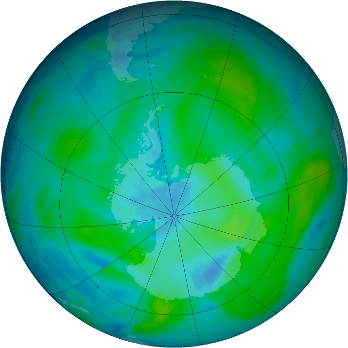 Antarctic ozone map for 07 March 1984