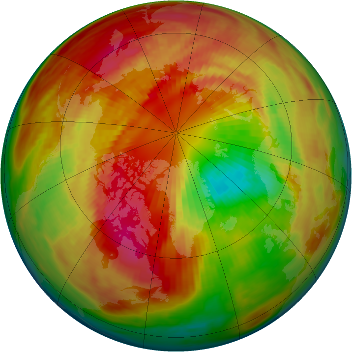 Arctic ozone map for 09 March 1984