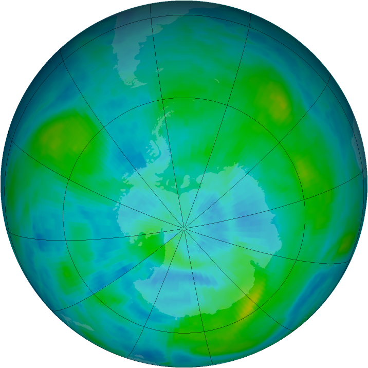 Antarctic ozone map for 10 March 1984