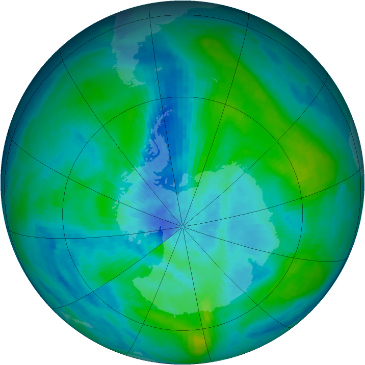Antarctic ozone map for 12 March 1984
