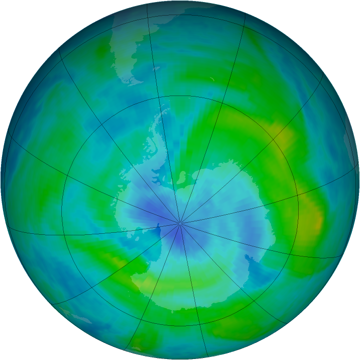 Antarctic ozone map for 14 March 1984
