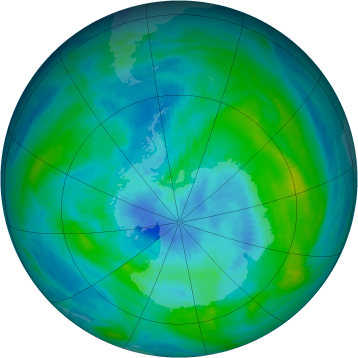 Antarctic ozone map for 15 March 1984