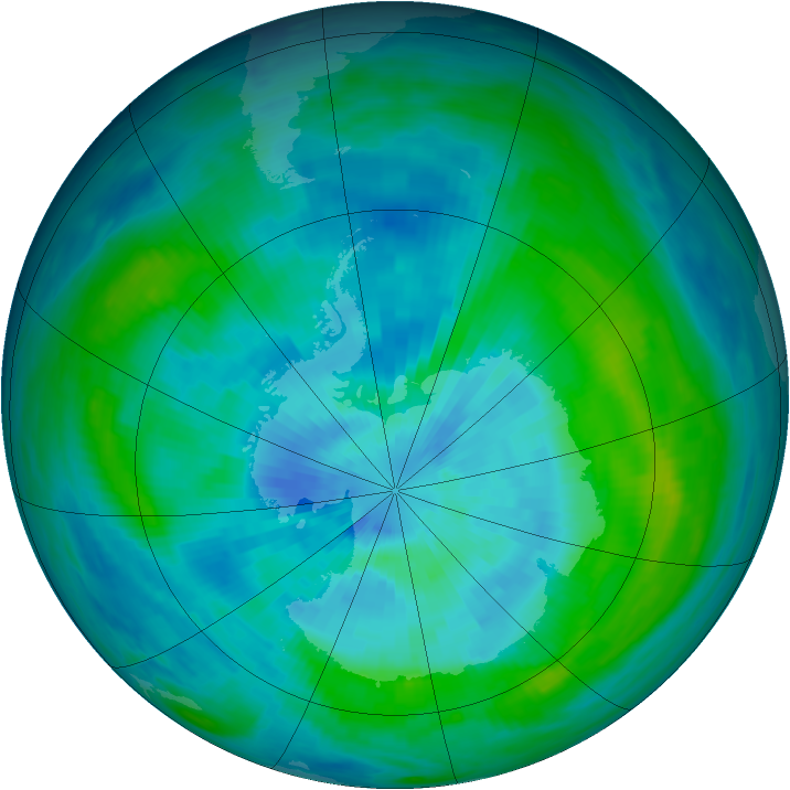 Antarctic ozone map for 16 March 1984