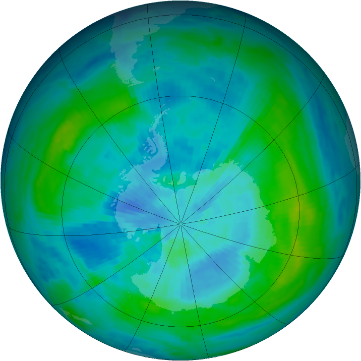 Antarctic ozone map for 17 March 1984