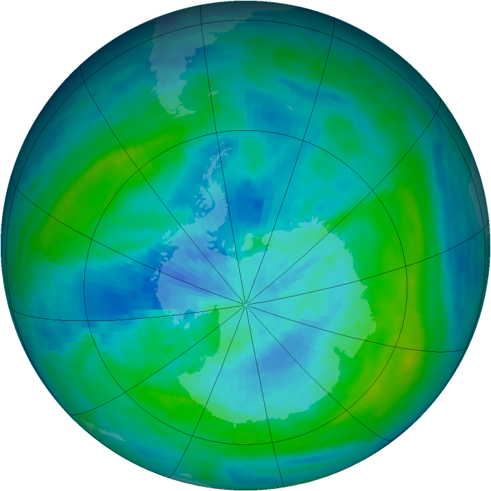 Antarctic ozone map for 18 March 1984