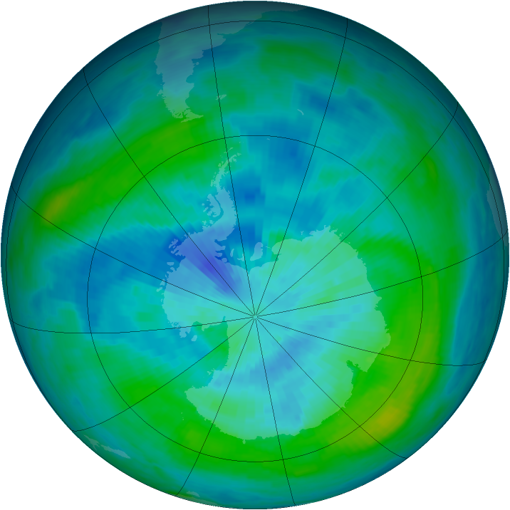 Antarctic ozone map for 19 March 1984