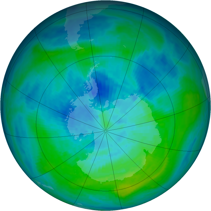 Antarctic ozone map for 21 March 1984