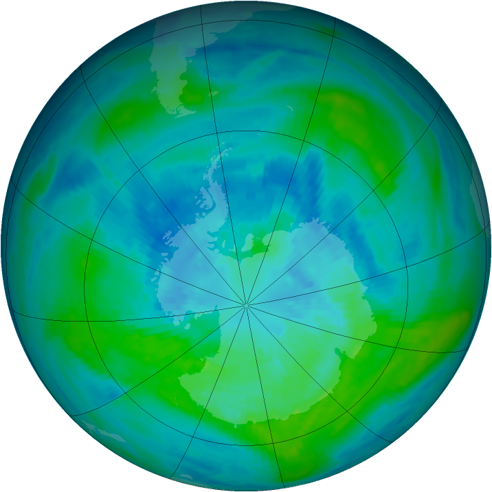 Antarctic ozone map for 23 March 1984