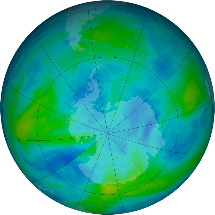 Antarctic ozone map for 26 March 1984