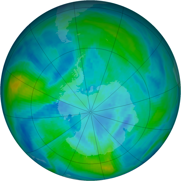 Antarctic ozone map for 28 March 1984