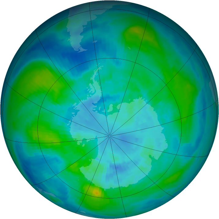 Antarctic ozone map for 30 March 1984