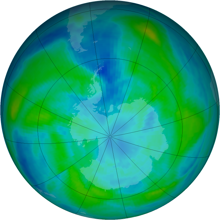 Antarctic ozone map for 31 March 1984