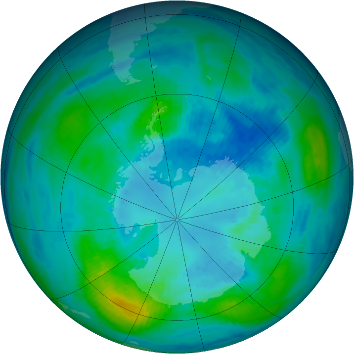 Antarctic ozone map for 07 April 1984