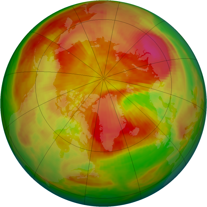 Arctic ozone map for 11 April 1984
