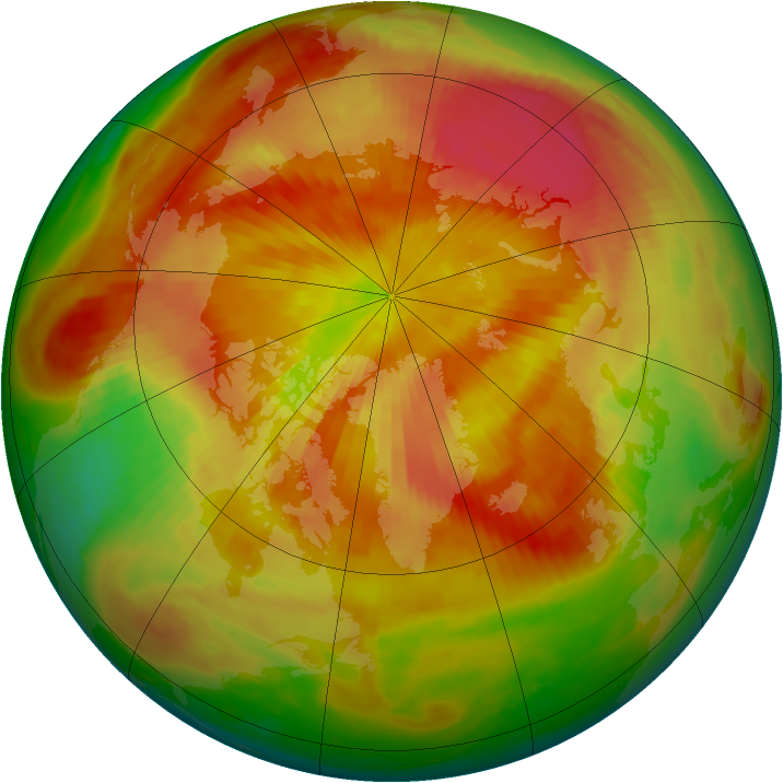 Arctic ozone map for 15 April 1984