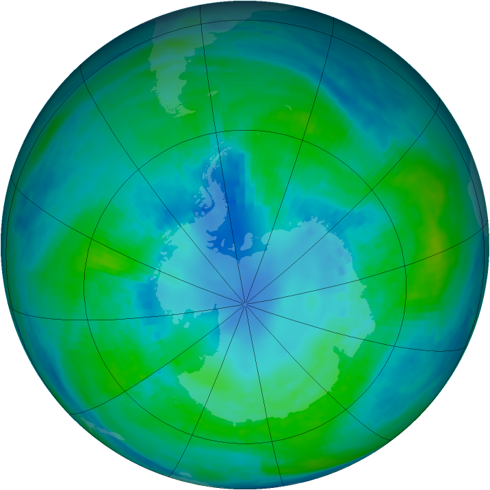 Antarctic ozone map for 16 April 1984