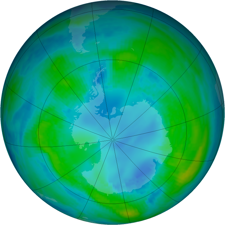 Antarctic ozone map for 21 April 1984