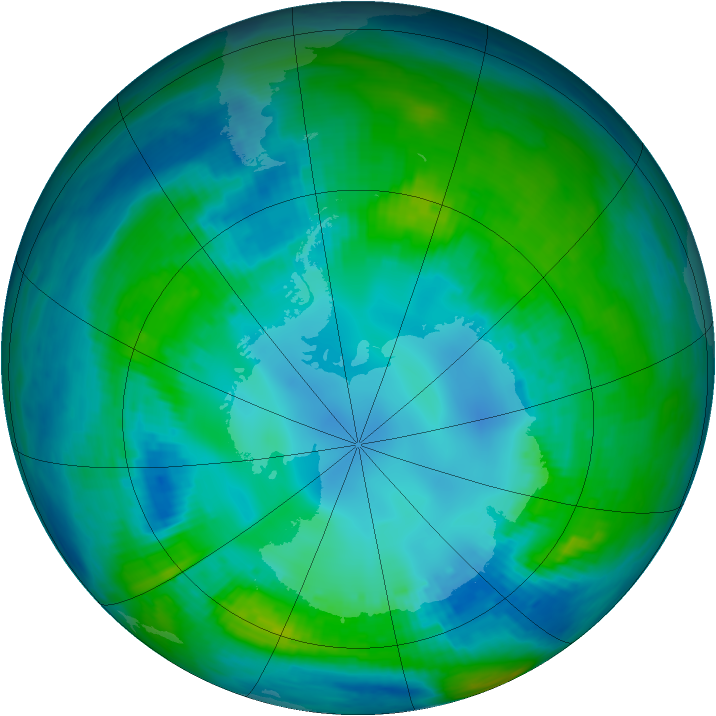 Antarctic ozone map for 29 April 1984