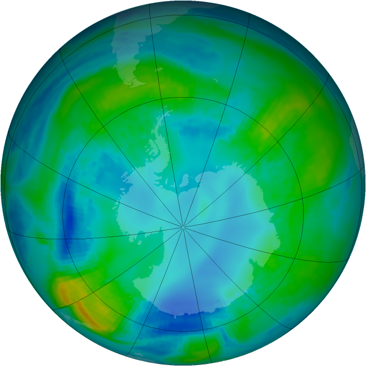 Antarctic ozone map for 01 May 1984
