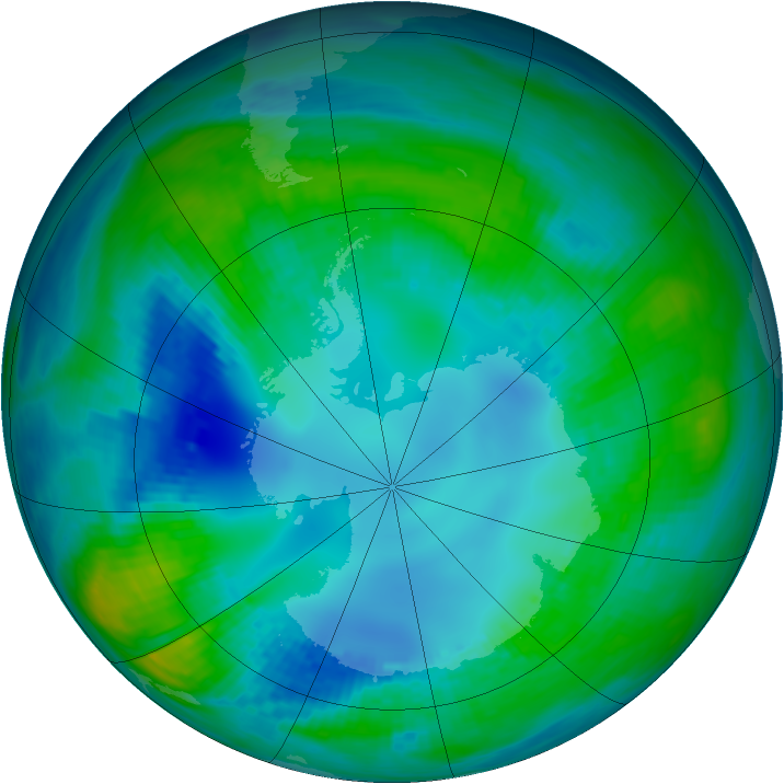 Antarctic ozone map for 02 May 1984