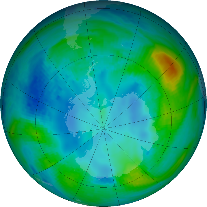 Antarctic ozone map for 05 May 1984