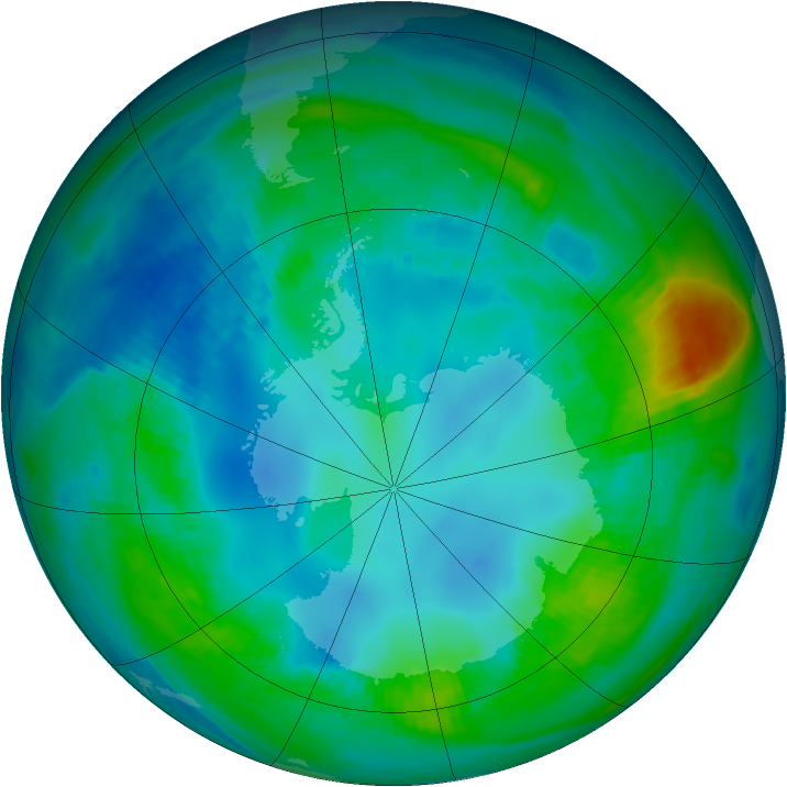 Antarctic ozone map for 06 May 1984