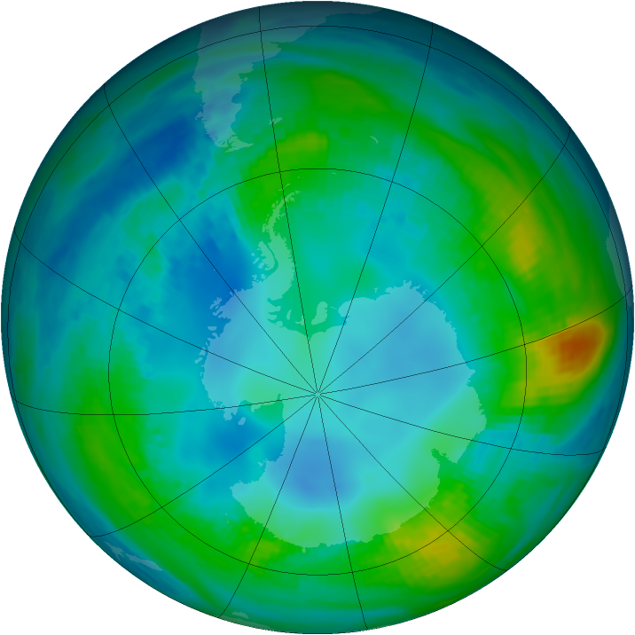 Antarctic ozone map for 07 May 1984