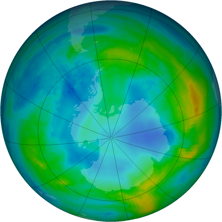 Antarctic ozone map for 08 May 1984