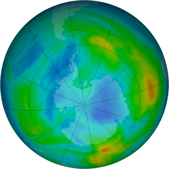 Antarctic ozone map for 09 May 1984