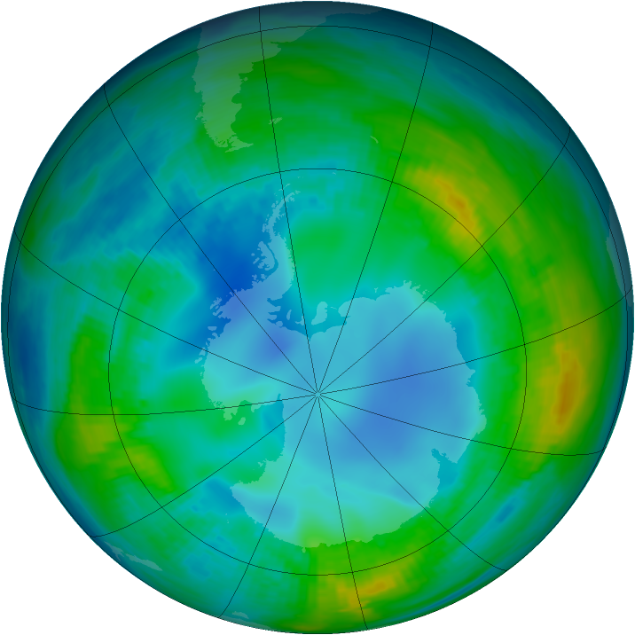 Antarctic ozone map for 10 May 1984