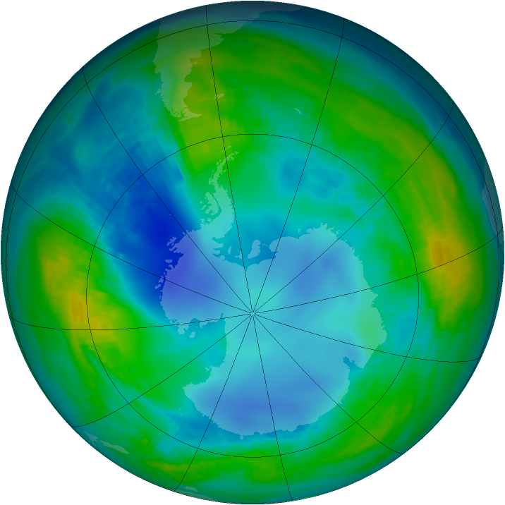 Antarctic ozone map for 13 May 1984