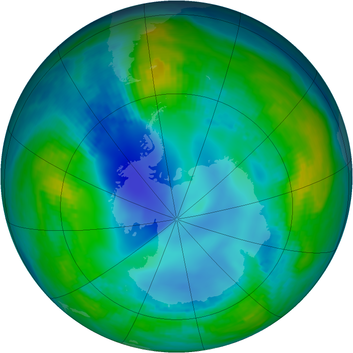 Antarctic ozone map for 14 May 1984