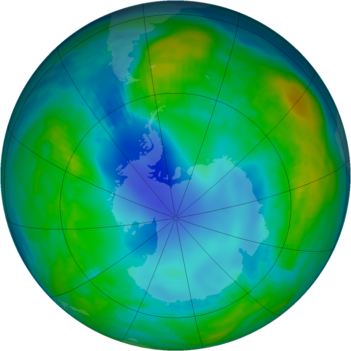 Antarctic ozone map for 15 May 1984