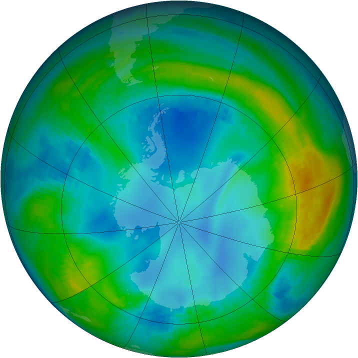 Antarctic ozone map for 18 May 1984